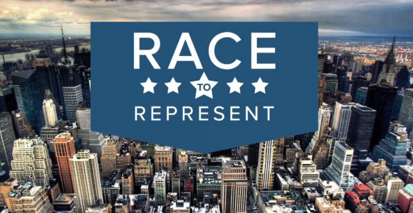 Race to Represent title screen over New York cityscape