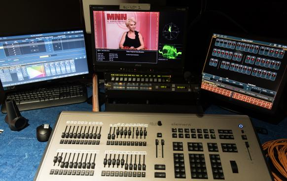 Control Room Equipment, Screens, Soundboard, Camera Preview