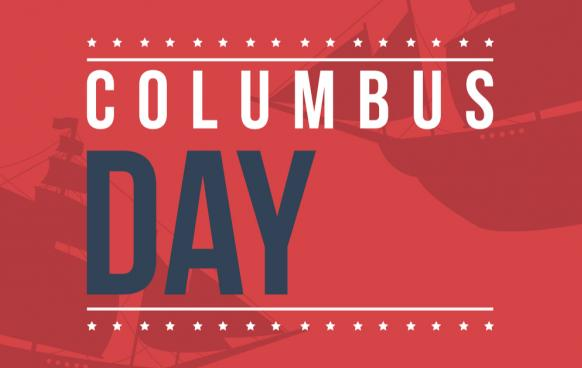 Red, white and blue Columbus Day graphic