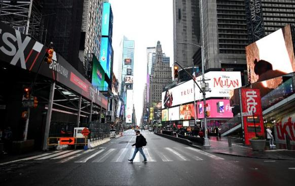 An Empty Times Square NYC March 2020