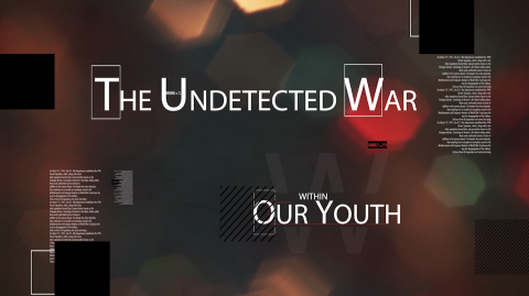The Undetected War Within Our Youth logo with faded color light beams behind