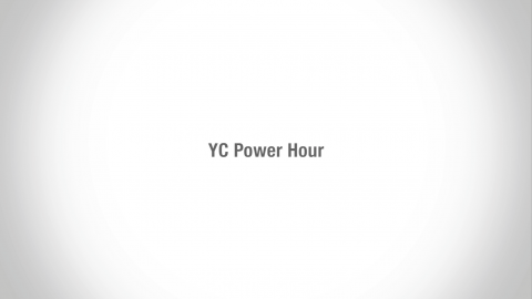 white screen with yc power hour logo