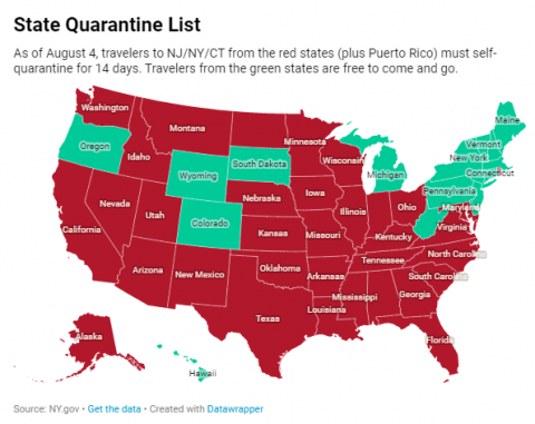 august state quarantine map